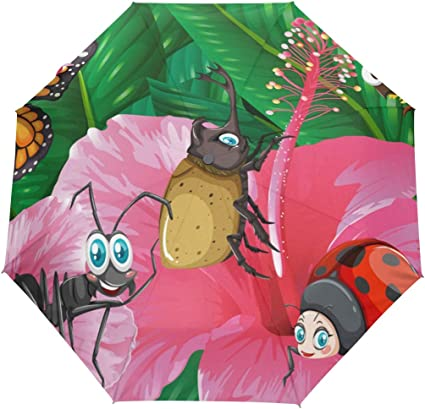 Bees and Butterflies Children/'s Bug Umbrella with lady Bugs