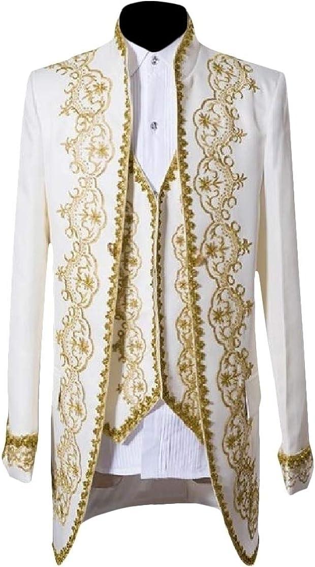 Comaba Men Oversize Set 3-Piece Embroidery Dovetail Premium Suit Coat
