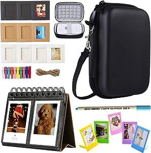 SAIKA Printer Accessories Bundle Compatible with HP Sprocket Portable Photo Printer (2nd Edition)- [HP Sprocket Case+Photo Album+Wall Hanging Frame+Table Frame+ Pens] - Black