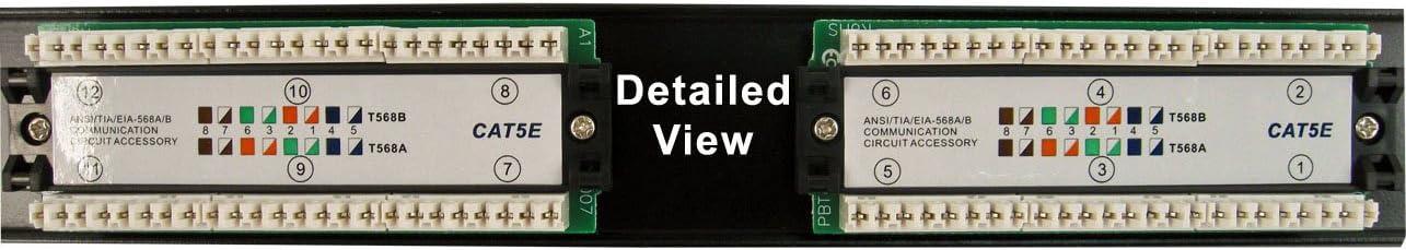 Vertical Cable Cat5e 12 Port 19 Horizontal Rackmount 1U Patch Panel