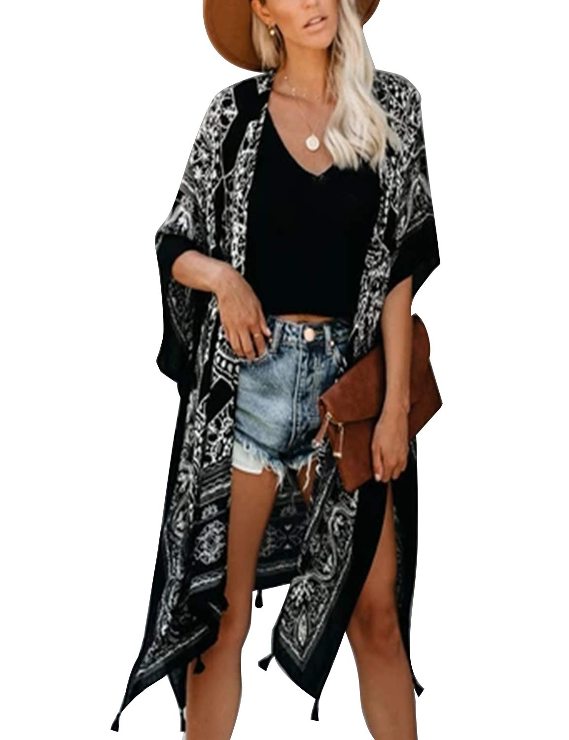 Women's Open Front Top Chiffon Kimono Bell Sleeve Split Long Cover Ups