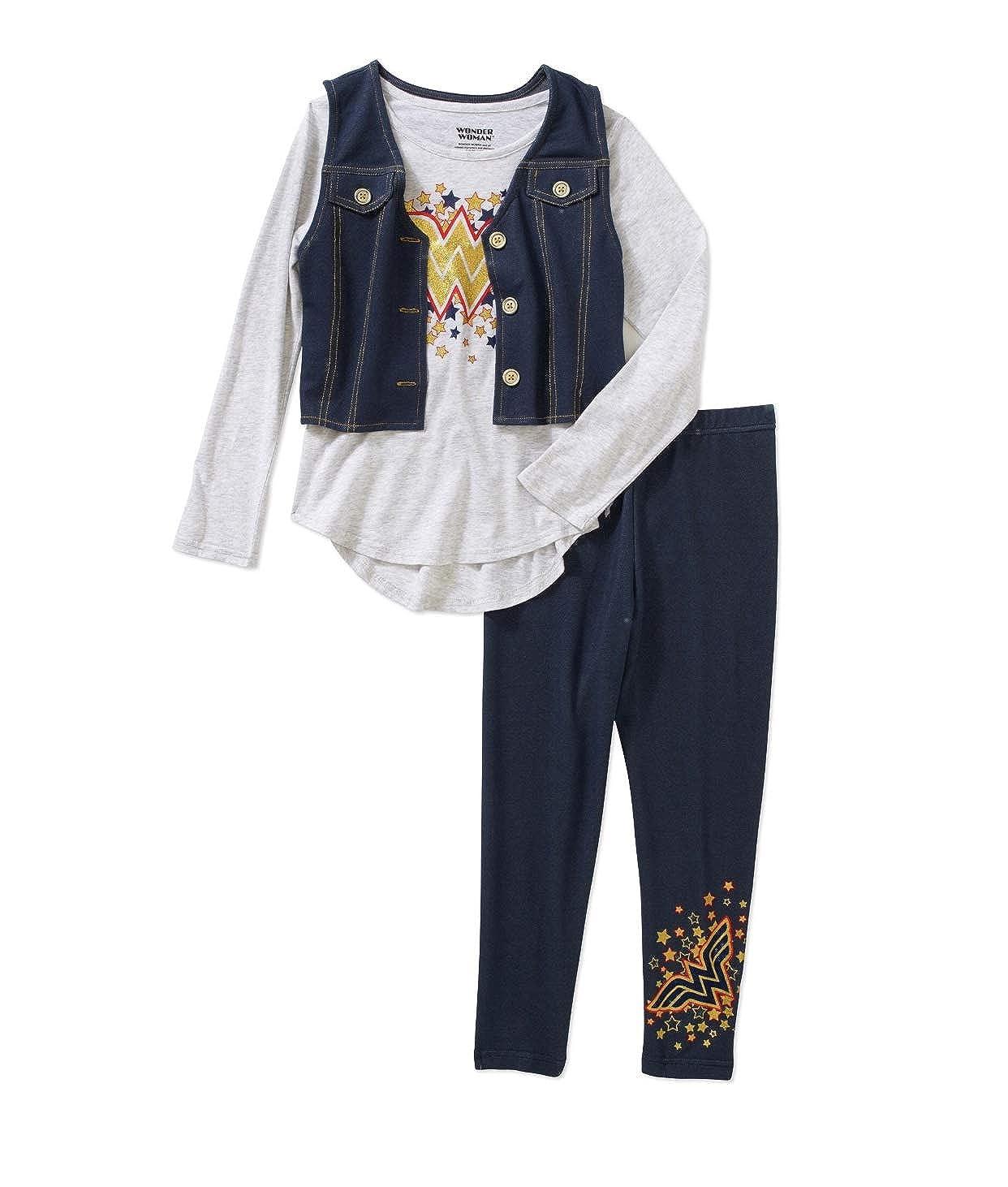 Wonder Woman Girls Star Shirt Vest Denim Legging Set