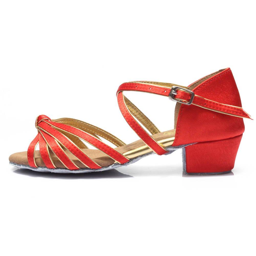HROYL Girls Dance Shoes Satin Latin/Chacha/Samba/Modern/Jazz Dance Shoes Ballroom S-G03