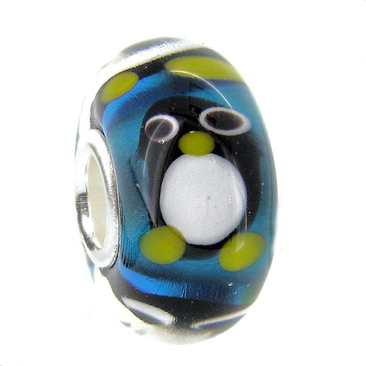 Queenberry Sterling Silver Penguin European Style Glass Bead Charm