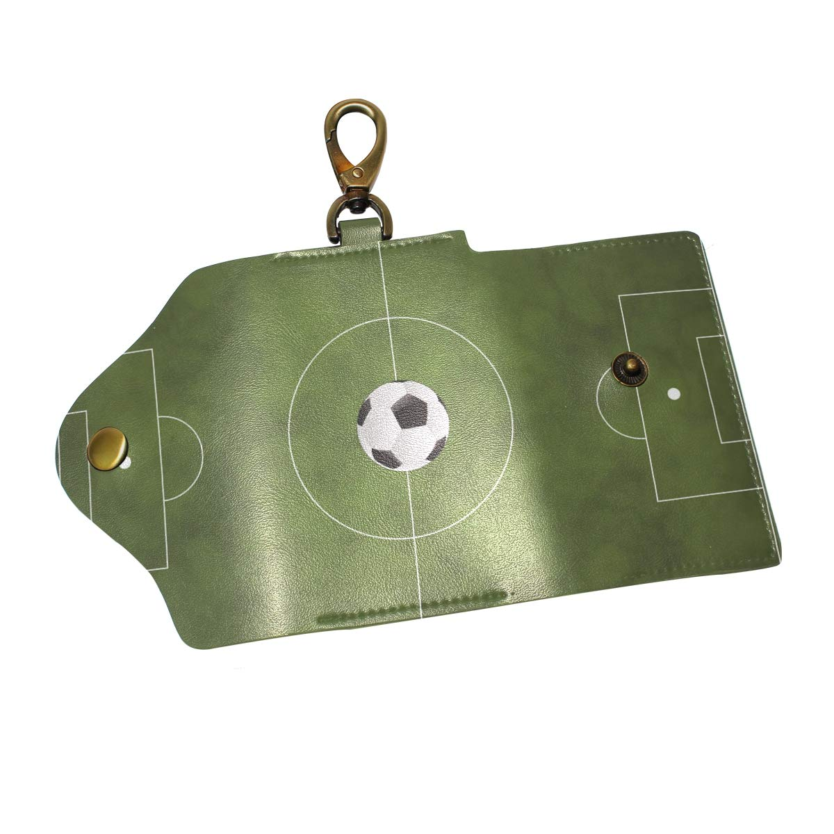 KEAKIA Soccer Green Field Leather Key Case Wallets Tri-fold Key Holder Keychains with 6 Hooks 2 Slot Snap Closure for Men Women