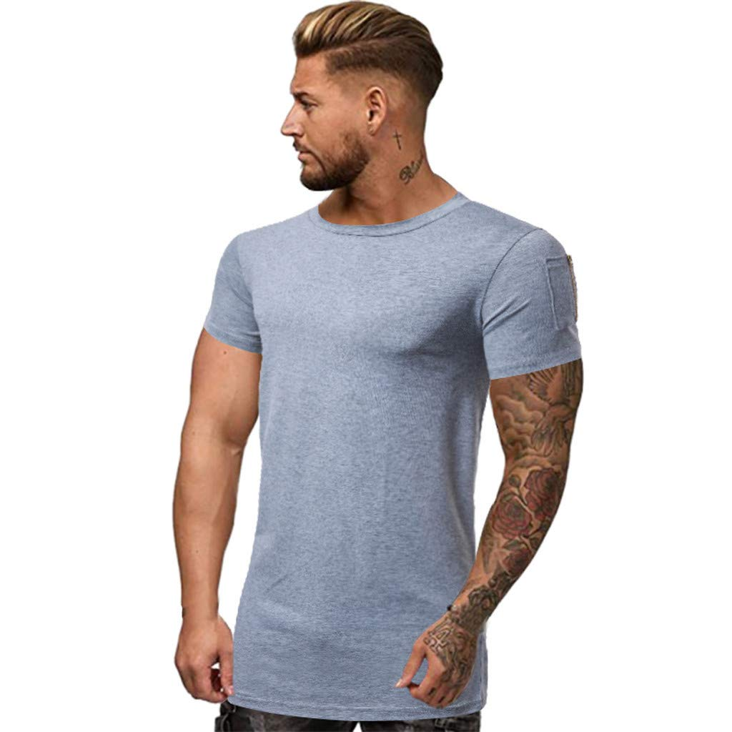 Mens Fashion Solid Color T-Shirts - Casual Sport Fitness Short Sleeve Tops with Zipper Pocket Gray