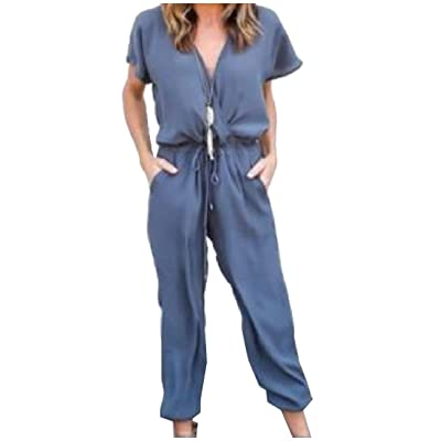 AngelSpace Womens Short Sleeve V Neck Pockets Drawstring One Piece Office Jumpsuit