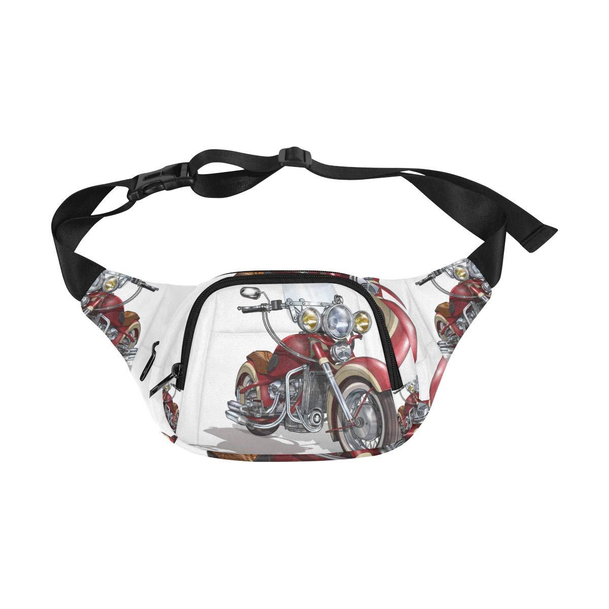 Hand Drawing Motorcycle Race Fenny Packs Waist Bags Adjustable Belt Waterproof Nylon Travel Running Sport Vacation Party For Men Women Boys Girls Kids
