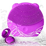 Facial Cleanser Machine - UIOT Facial Cleansing Massager Brushes Machine Silicone Face Cleanser Brush Exfoliator Electric Ultrasonic Rechargeable Waterproof Wash Brush
