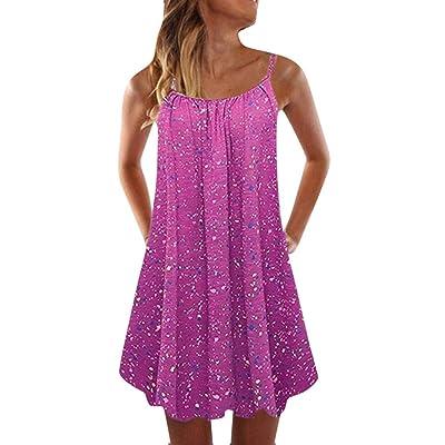 Fudule Women Sleeveless Dresses Summer Beach Holiday Loose A-Line Swing Dress Mini Dresses Swing Dress for Women Sundress: Clothing