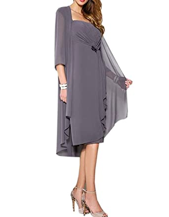 ModeC Chiffon Knee Length Mother of The Bride Dresses with Jacket Prom Gowns  Grey US2 c1b47cd03