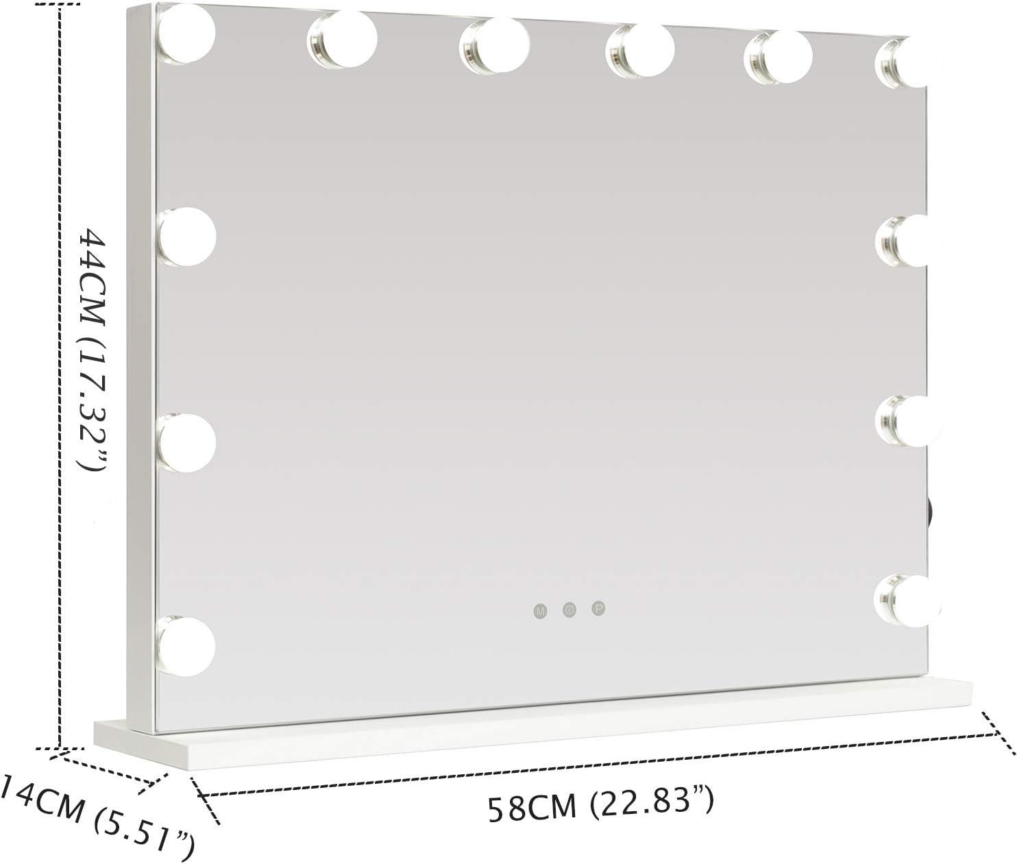 WAYKING Miroir de Maquillage avec 12 /éclairages /à 360/° LED pour Maquillage Blanc 58 x 46 cm