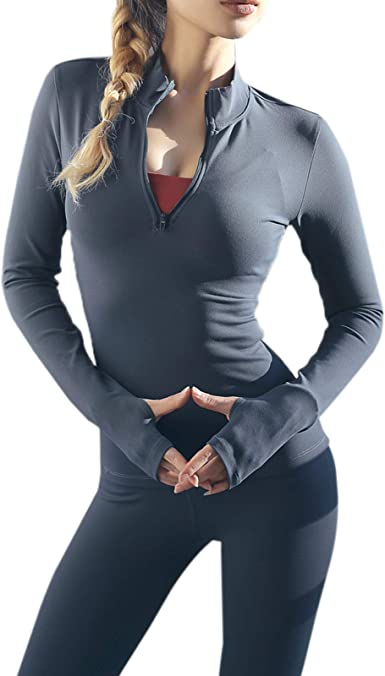 Elonglin Womens Half Zip Shirt Quick Dry Athletic Pullover Long Sleeve Running Top with Thumb Holes