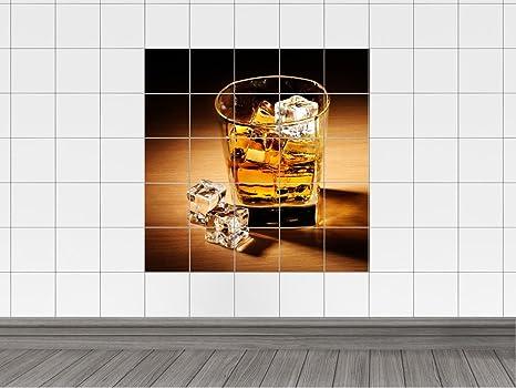 Piastrelle adesivo piastrelle immagine whisky vetro ghiaccio bagno