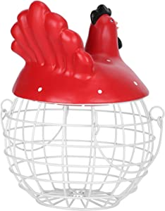 Gerioie Chicken‑Shape Storage Basket, Chicken‑Shape Iron Simple Egg Collection, Durable for Refrigerator Pantry Kitchen Countertop Apartment(red)