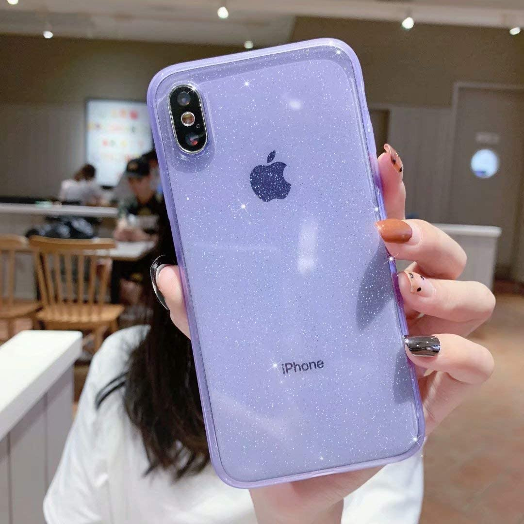 iPhone X/XS Case Glitter,Anynve Clear Bling Sparkle Case [ Anti-Shock Matte Edge Bumper Design] Cute Slim Soft Silicone Gel Phone Case Compatible for Apple iPhone X/Xs 5.8''-Purple