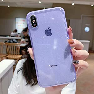 iPhone XR Case Clear Glitter,Anynve Sparkle Bling Case [Air Cushion Anti-Shock Matte Edge Bumper Design] Cute Slim Soft Silicone Gel Phone Case Compatible for Apple iPhone XR 6.1''-Purple