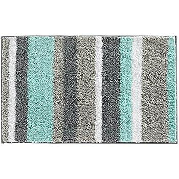 Captivating InterDesign Stripz Microfiber Bath Rug, 34 X 21 Inch, Mint/Gray
