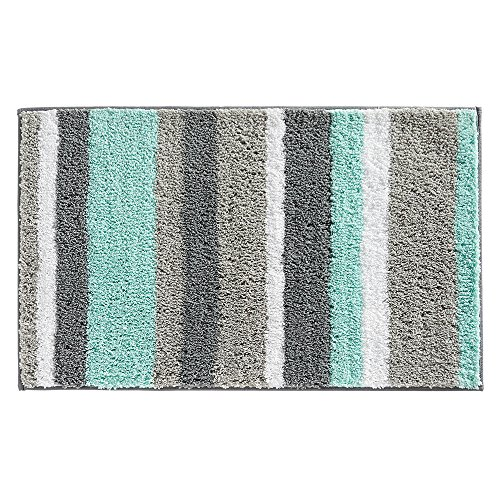 InterDesign Stripz Microfiber Bath Rug, 34 x 21-Inch, Mint/Gray (Mint Rug)