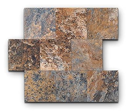 Peel And Stick Tile Backsplash, PVC Rusty Slate Tile Backsplash For Kitchen(6  X