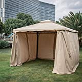 Kinbor 10'x 10' Outdoor Gazebo Patio Pergola With Mosquito Netting Heavy duty Canopy Garden Backyard Tent with Soft Cover Mesh Side Walls