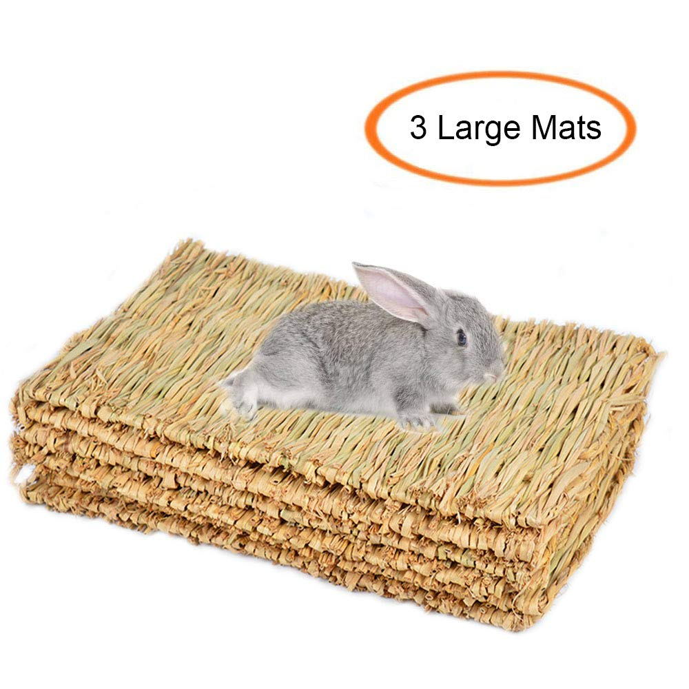 Grass Mat Woven Bed Mat for Small Animal Bunny Bedding Nest Chew Toy Bed Play Toy for Guinea Pig Parrot Rabbit Bunny Hamster Rat(Pack of 3)