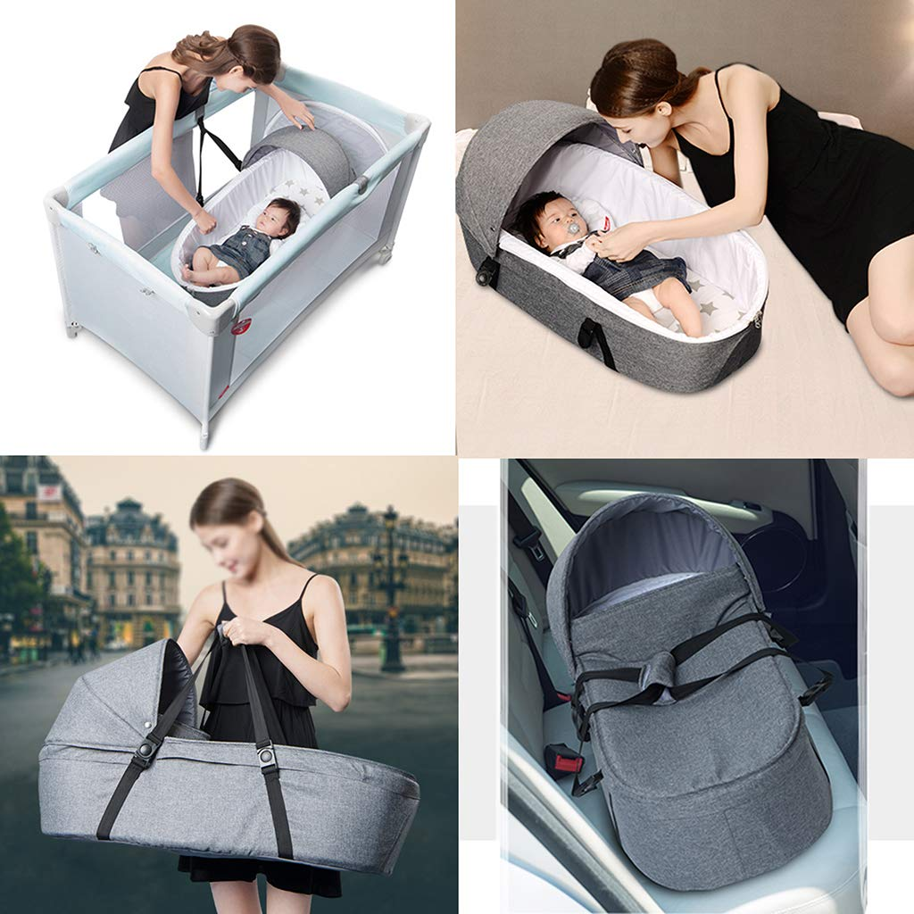Baby Nest with Canopy and Windproof Cover Baby Basket Sleeping Basket Newborn Portable Portable Rocking Basket Car Baby Basket Cradle Bed Gray