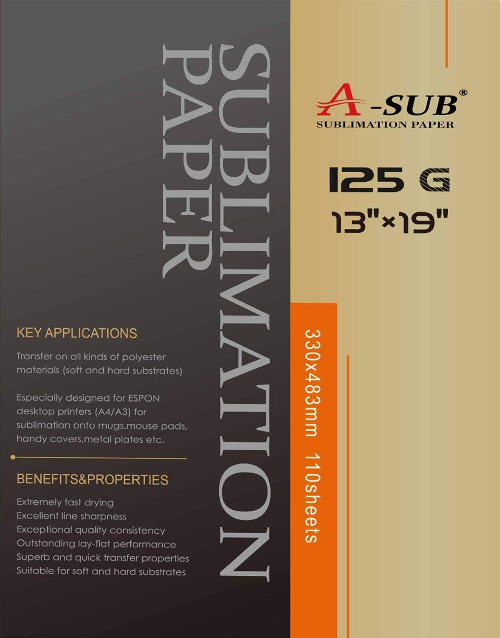 A-SUB Sublimation Paper 13X19 Inches for All Inkjet Printer with Sublimation Ink,110 Sheets
