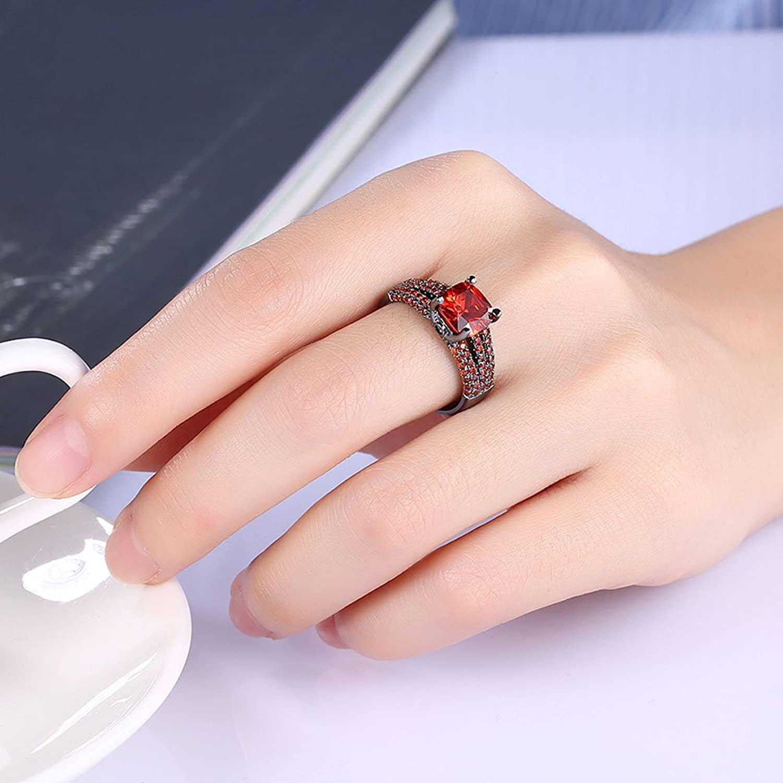 Amazon.com: XAHH Women Black Gold Plated Princess Cut Red Stone Ruby ...