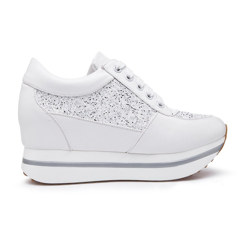 GIY Women Fashion Sneaker Round Toe Increased Height Wedge Platform Lace-up Casual Shoes by GIY