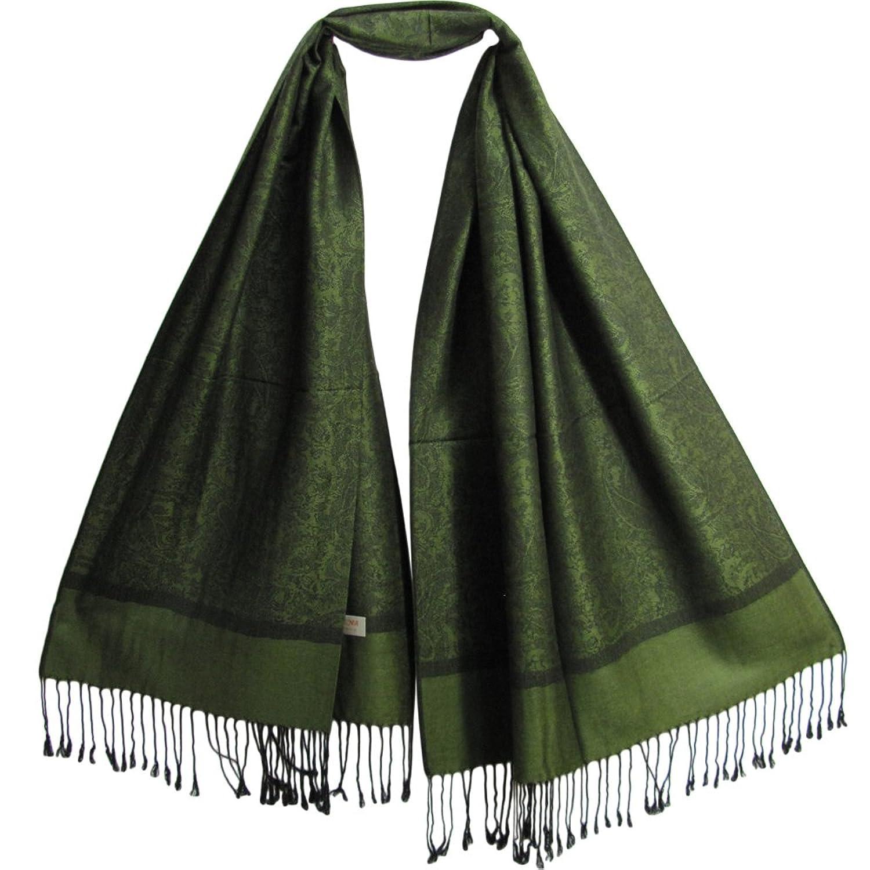 Reversible Jacquard Green/Black Paisley Pashmina Silk Fringe Shawl Wrap Scarf