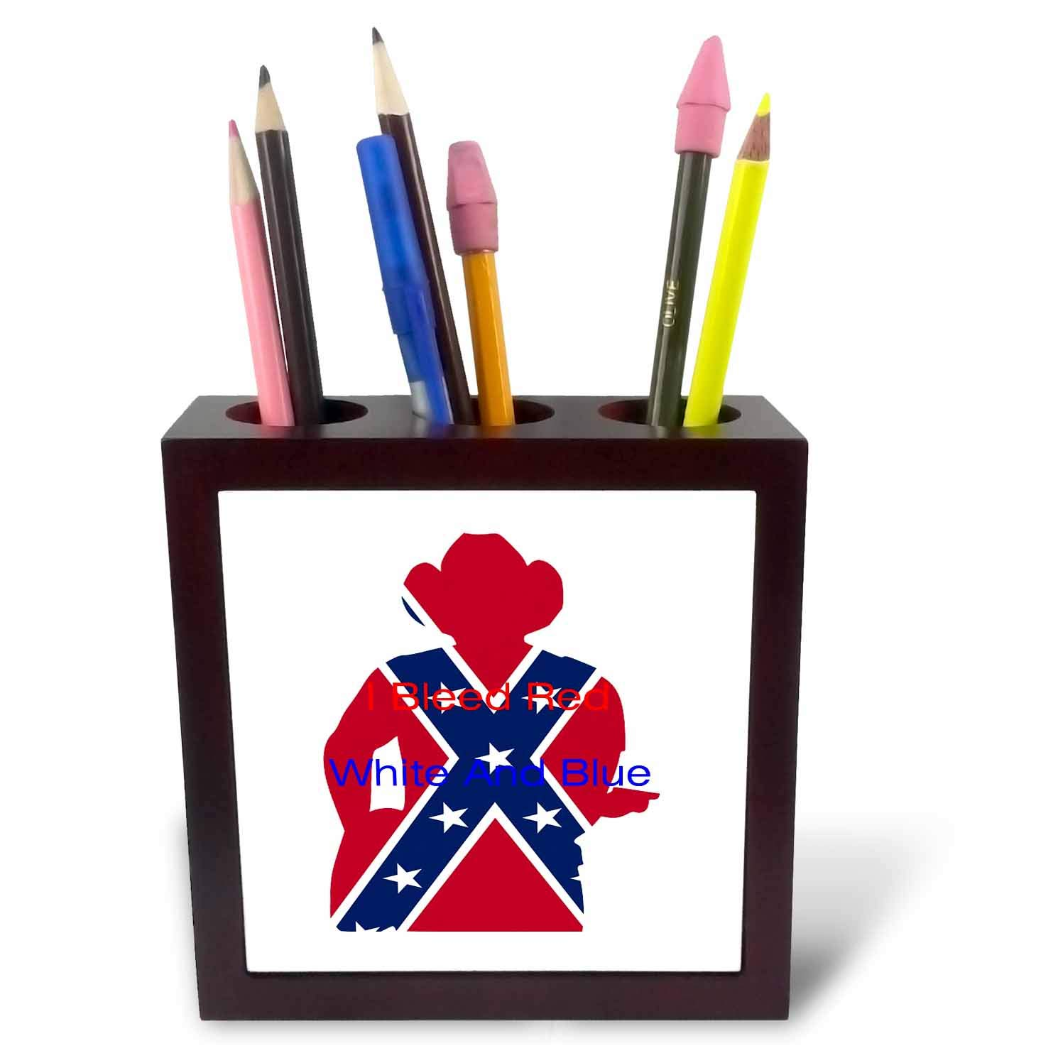 3dRose Lens Art by Florene - Patriotic - Image of Country Cowboy in Flag Colors with Message - 5 inch Tile Pen Holder (ph_291472_1)