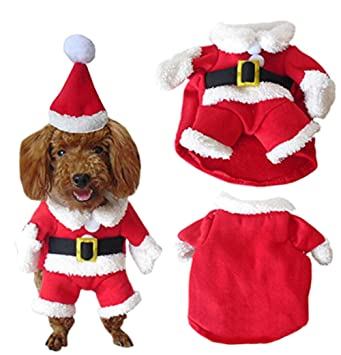 c3442332a3b Moolecole Cawaii Pet Clothes Christmas Clothes for Dogs Christmas Eve  Clothes Winter Costume Sweater and Hat (XL)