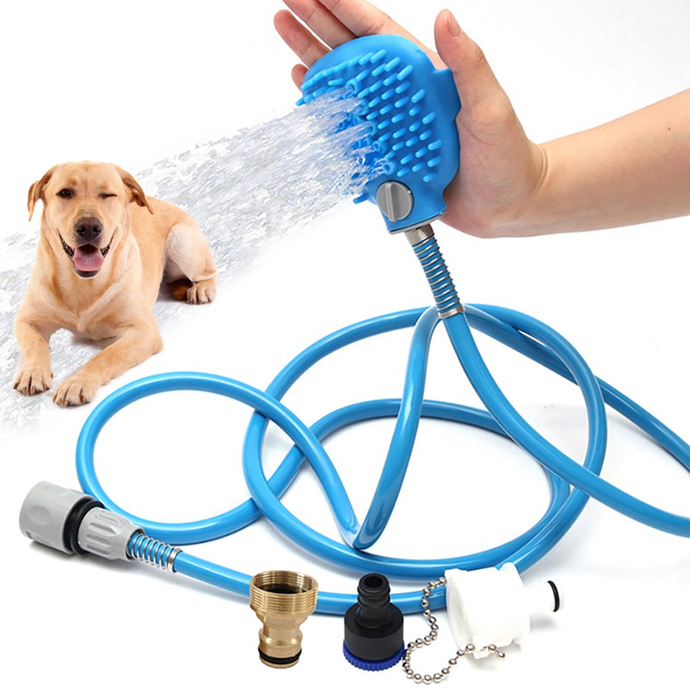 HOMPAT Pet Shower Sprayer with Brush Pet Bathing Tool for Dogs and Cats Shower Sprayer and Brush in-One with 8.2ft Hose and 3 Adapters, In door& outdoors Use