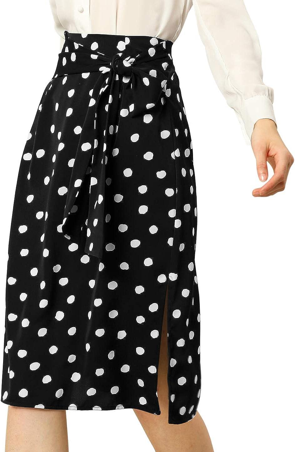 Allegra K Women's Polka Dots Skirt Retro 50s Tie Waist Split Midi Skirts