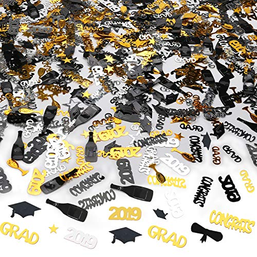 Konsait Graduation Confetti (2.2OZ) for Graduation Party Supplies Decorations Grad Party Accessories Grad, Congrats, Diploma, Star, Cap, Goblet, 2019 Gold Black Silver Mix Grad Confetti Decorations