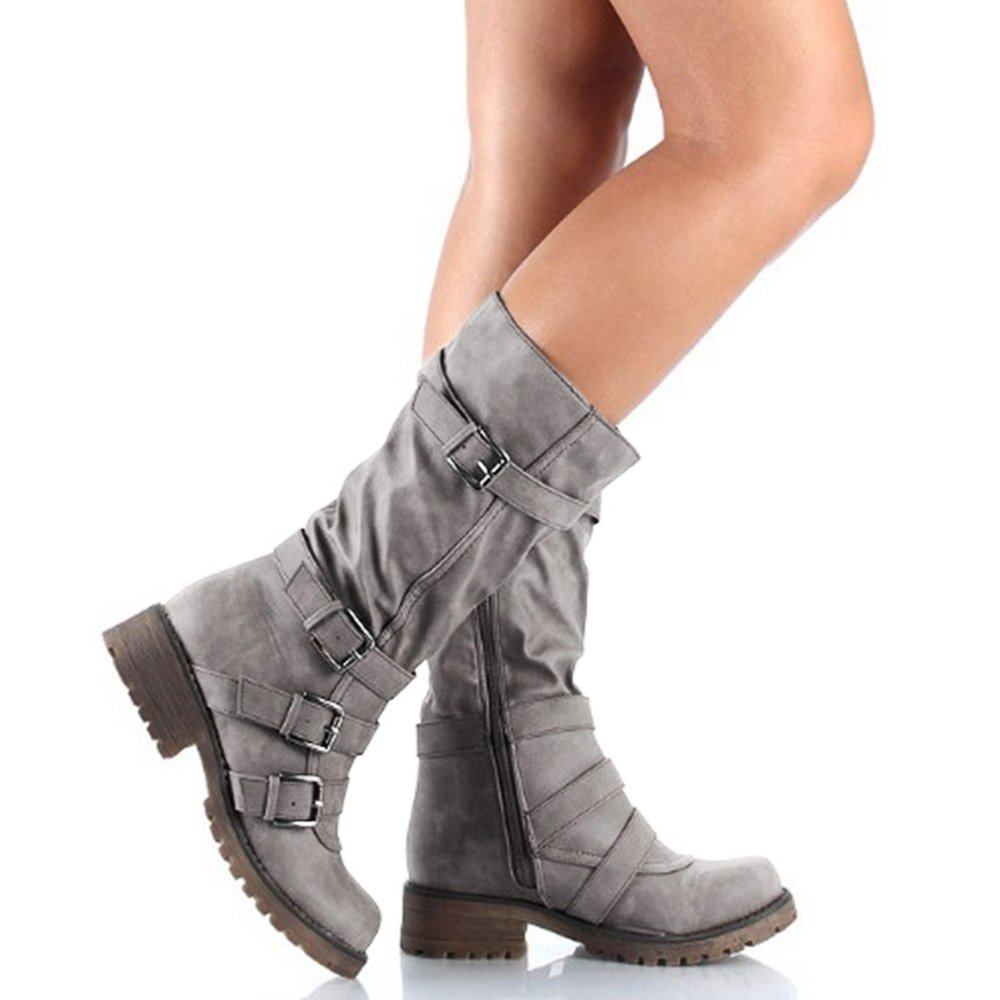 Rainlin Women's Mid-Calf Boots Suede Buckles Riding Boots Size 7.5 Grey by Rainlin (Image #5)