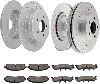Front Black Cross-Drilled Brake Rotors /& Ceramic Pads Ford Explorer Sport Trac