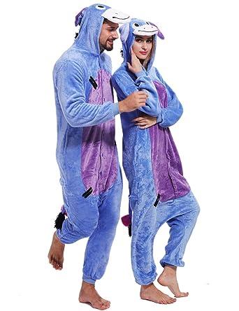 05b84ff31d0f Amazon.com  Adult Eeyore Donkey Onesies Cosplay Animal Pajamas Chrismas  Homewear Sleepwear Costume  Clothing