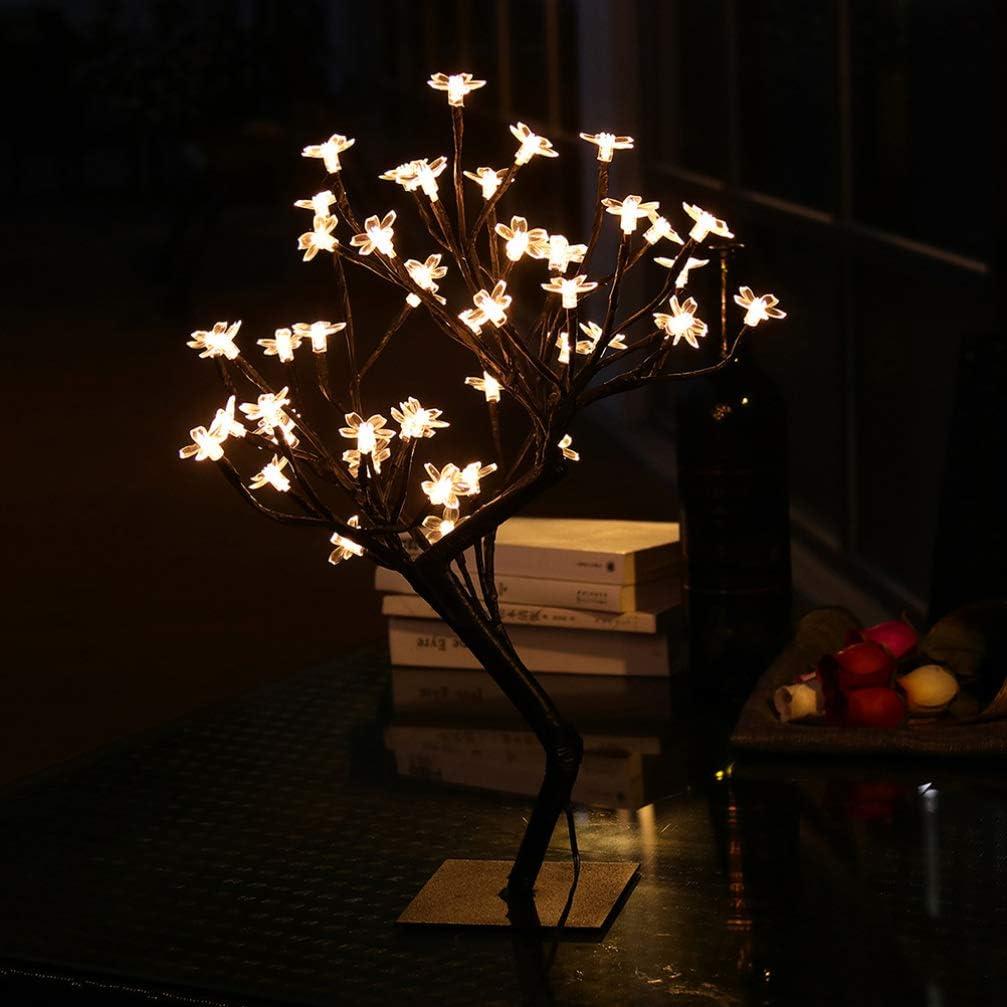 OSALADI Lampada LED Albero Bonsai Fiore di Ciliegio 48 Led Luce Telecomando Usb per La Casa Decorazione Dellinterno Regalo Luce Notturna Bianco Caldo