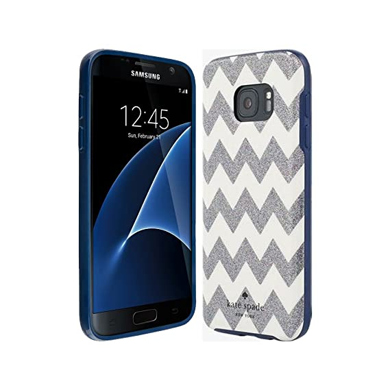 buy popular 3ee46 cb6ca Kate Spade New York Samsung Galaxy S7 Flexible Hardshell Case Silver  Glitter Chevron Stripes