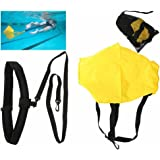 Swimming Resistance Belt Swim Training Exerciser Belt Traction Resistance Swiming Training Device Swim Resistance Cords Drag Belt with drag parachute for Adults and Kids