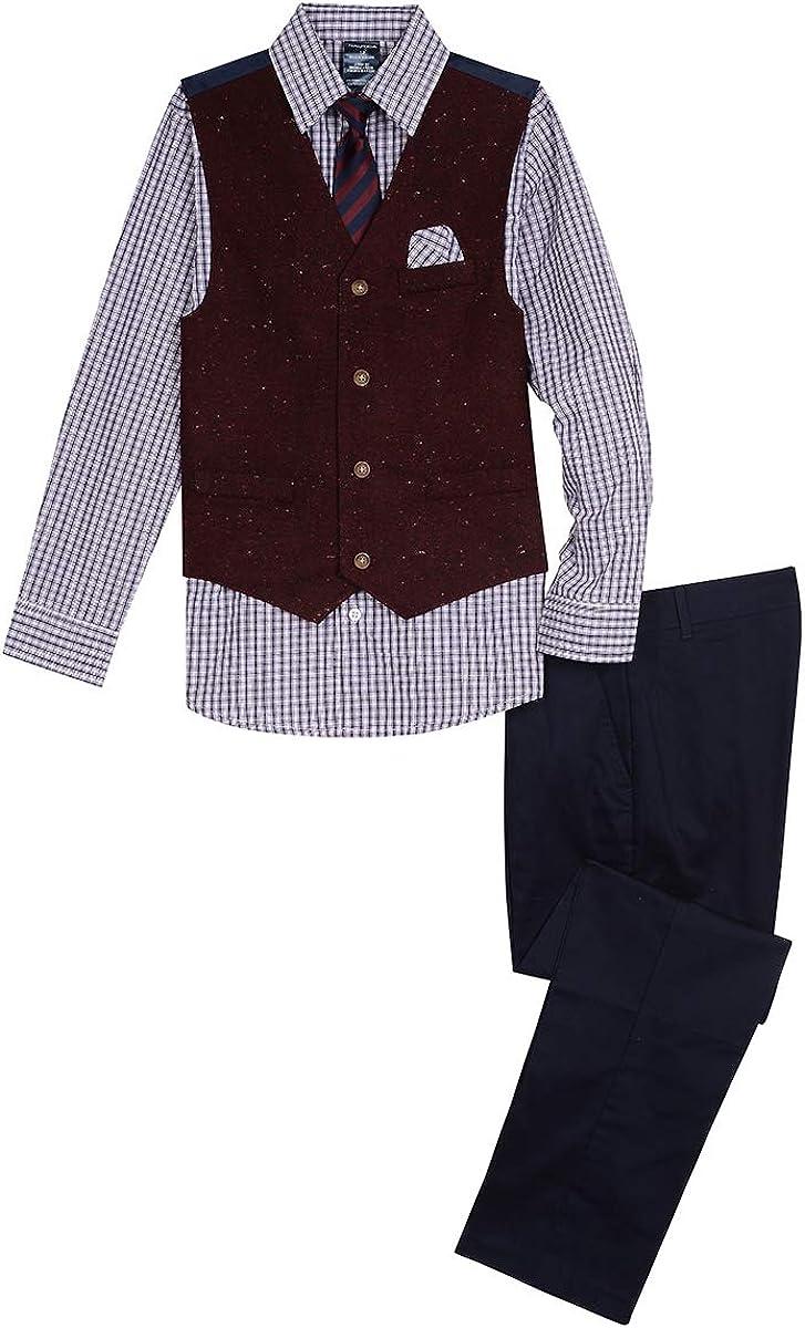 Nautica Boys 4-Piece Vest Set with Dress Shirt Vest Tie and Pants