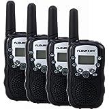FLOUREON T-388 4PCS Pack 8 Channel Twin Walkie Talkies Auto Channel Scan Long Range UHF400-470MHZ 2-Way Radio 3Km Range Black