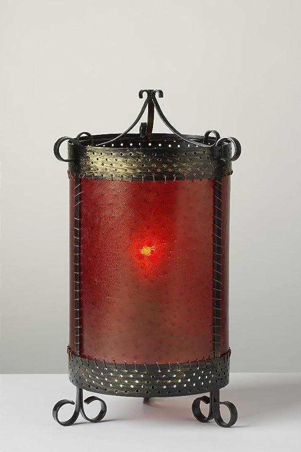 Tischleuchte Casandra orientalische Lampe Dekoleuchte Lederimitat