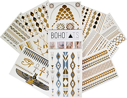 BohoTats - Set of 10 Sheets - Party Pack Edition - Over 100+ Intricate Designs - Stunning Metallic Flashtats - Non Toxic - Quality Guarantee - Temporary Metallic Tattoos