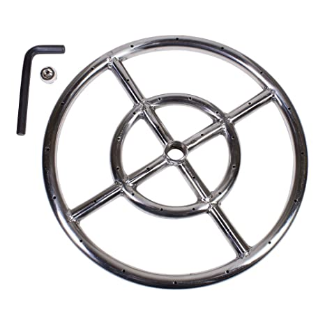 "Celestial Fire Glass 12"" Round Fire Pit Burner Ring, Stainless Steel,  Double Ring - Amazon.com: Celestial Fire Glass 12"