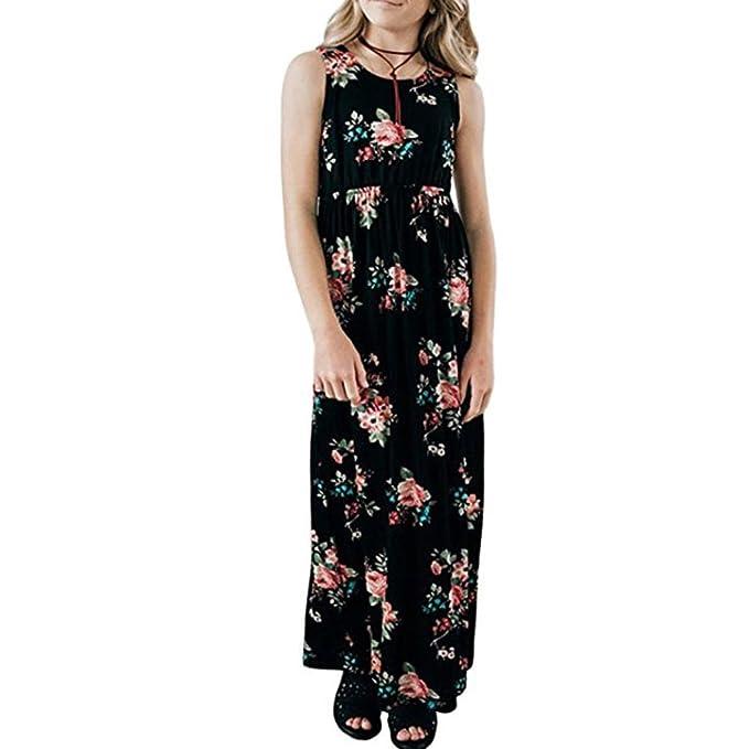 22327ed645 Staron Girls Dress Floral Maxi Sleeveless Casual Elegant Summer Holiday Long  Dress (2T 1