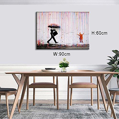 DINGDONGART Colorful Rain Wall Art Painting Modern Framed ...