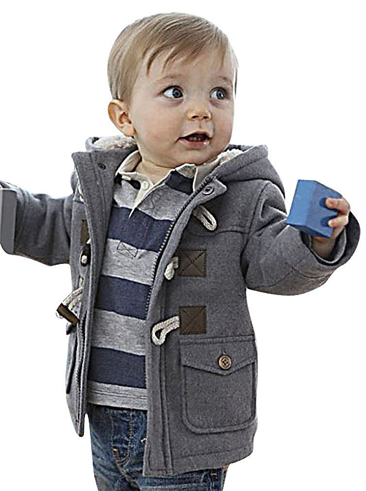 Sweety, Boys Hooded Jacket Lightweight Soft Warm Wool Blend Trench Coat,Gray 5 Years